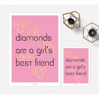 designfeder | Poster & Postkarte Diamonds are a girl's best friend