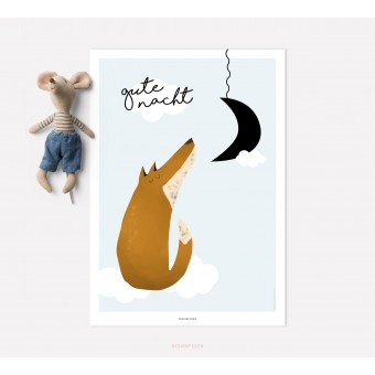 designfeder   Poster Gute Nacht kleiner Fuchs