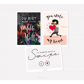 designfeder | Postkarten 3er Set – Perfekte Welt, you stole my heart und swipe