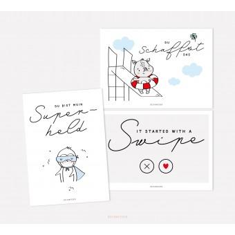 designfeder | Postkarten 3er Set – Superheld, du schaffst das und swipe
