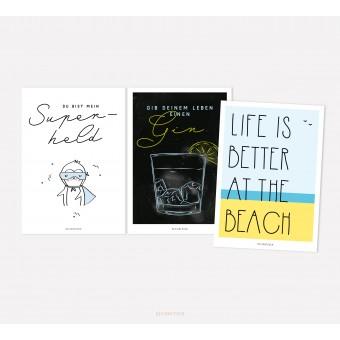 designfeder | Postkarten 3er Set – Superheld, Gin und Beach