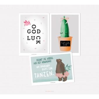 designfeder | Postkarten 3er Set – Good luck, Kaktusliebe und Tanzbär