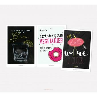 designfeder | Postkarten 3er Set – Gin, Vegetarier und winetime