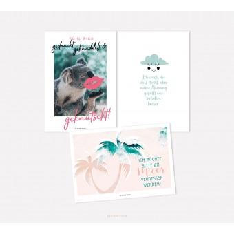 designfeder | Postkarten 3er Set – Fühl dich geknutscht, meine Meinung und am Meer vergessen