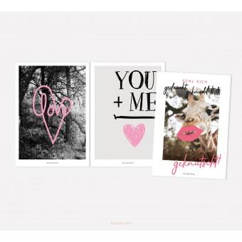 designfeder | Postkarten 3er Set – Love, You + Me und Fühl dich geknutscht
