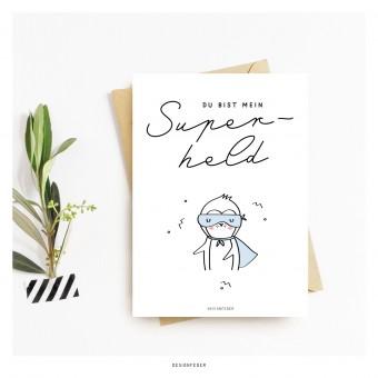 designfeder | Postkarte Du bist mein Superheld