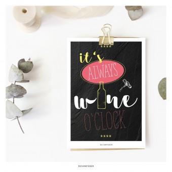 designfeder | Postkarte wine o'clock