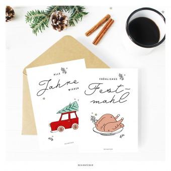 designfeder | Weihnachts-Postkarten x-mas