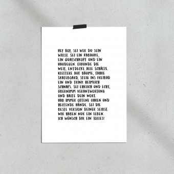 """Love is the new black — Poster """"Hey Boy"""", Din A4 Format"""