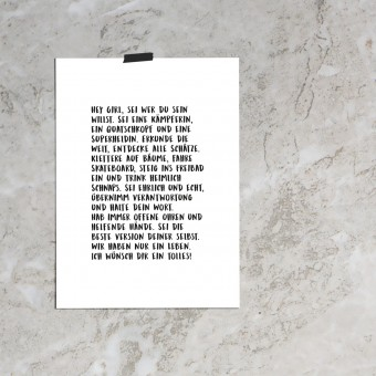 """Love is the new black — Poster """"Hey Girl"""", Din A4 Format"""