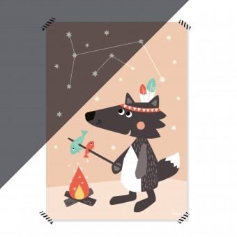 julica-design NACHTLEUCHTENDES Poster Kleiner Wolf