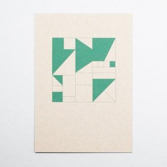 """KLEINWAREN / VON LAUFENBERG Glückwunschkarte """"Geometrisch Grün"""""""
