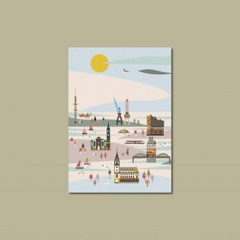'Hamburg' Postkarte, illustriert von Saskia Rasink, DIN A6, klimaneutral gedruckt / Ankerwechsel Verlag