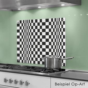 COGNOSCO Küchenrückwand 50x60 cm aus Glas - Op-Art