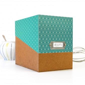 Rezeptbox, Muster türkis, Karteikartenbox für Rezepte, mit Metallschild