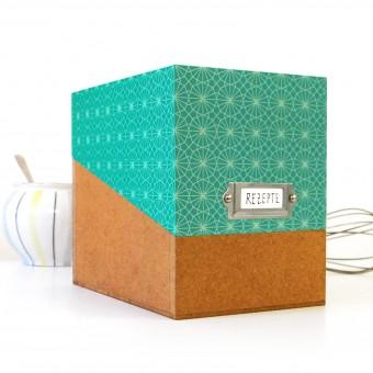 sperlingB – Rezeptbox, Muster türkis, Karteikartenbox für Rezepte, mit Metallschild