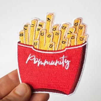 Rapü Design Pommes Patch / Pommes Aufnäher / Pommes Bügelbild Pommunity