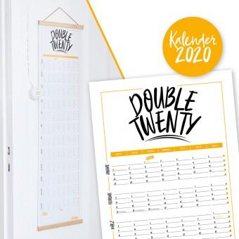 "Rapü Design Wandkalender 2020 ""Double Twenty"" | Posterkalender zum Wenden gelb"