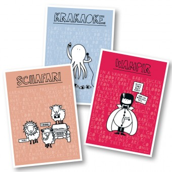 "Rapü Design Postkarten-Set Mix ""Krakaoke"", ""Schafari"", ""Wampir"" 3 Stück"
