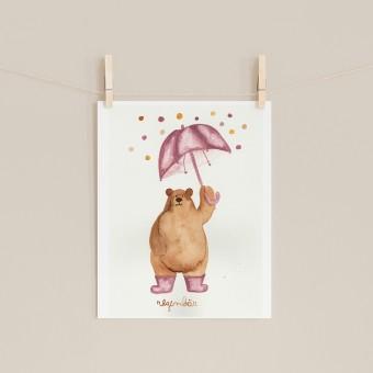 "hasenkinder - Aquarellbild ""Regenbär"" 18x24cm"