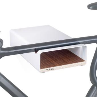 Design Fahrrad-Wandhalterung | PARAX® S-RACK | Weiß mit Walnuss Holz | für Rennrad Hardtail & Cityrad