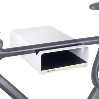 Design Fahrrad-Wandhalterung | PARAX® S-RACK | Weiß mit Holz Schwarz | für Rennrad Hardtail & Cityrad