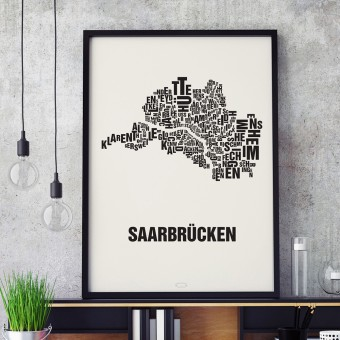 Buchstabenort Saarbrücken Stadtteile-Poster Typografie Siebdruck