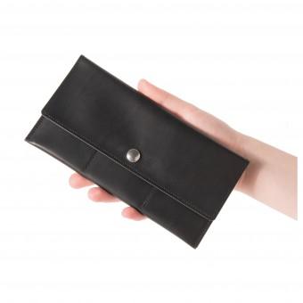 Slim-Long Portemonnaie in schwarz mit Münzfach - aus premium pflanzlich gegerbtem Leder