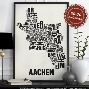 Buchstabenort Aachen Siebdruck Poster Typografie, Typo Stadtplan, Buchstaben Karte, Stadtteile Grafik, Städte Bilder, Plakat