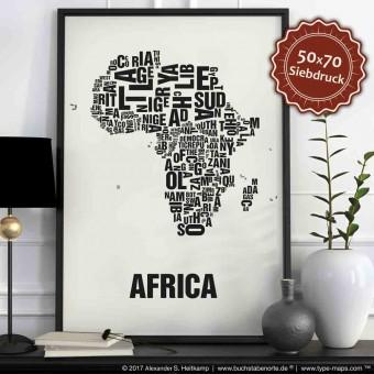 Buchstabenort Africa Stadtteile-Poster Typografie