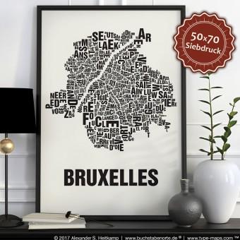 Buchstabenort Brüssel - Bruxelles Stadtteile-Poster Typografie