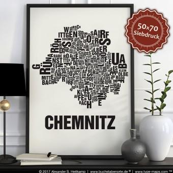 Buchstabenort Chemnitz Stadtteile-Poster Typografie