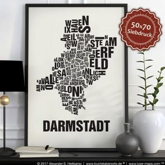 Buchstabenort Darmstadt Stadtteile-Poster Typografie
