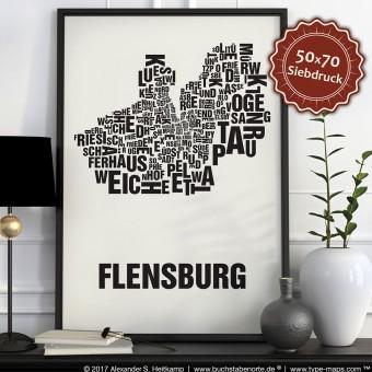 Buchstabenort Flensburg Stadtteile-Poster Typografie