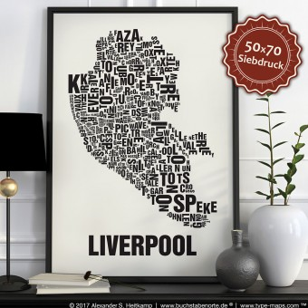 Buchstabenort Liverpool Stadtteile-Poster Typografie