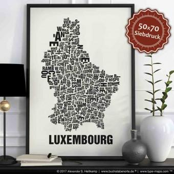 Buchstabenort Luxembourg Luxemburg Lëtzebuerg Land Poster Typografie