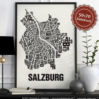 Buchstabenort Salzburg Poster Typografie