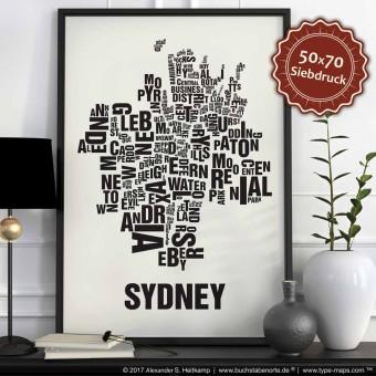 Buchstabenort Sydney Stadtteile-Poster Typografie