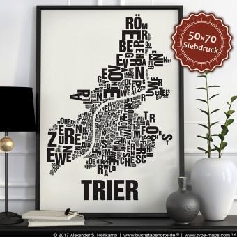 Buchstabenort Trier Stadtteile-Poster Typografie