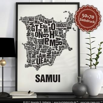 Buchstabenort Samui Poster Typografie