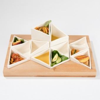 Lena Beigel design - Supertaster Schalensystem für Tapas (12 Porzellanschalen)