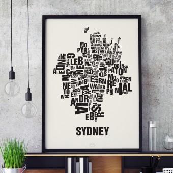 Buchstabenort Sydney Stadtteile-Poster Typografie Siebdruck