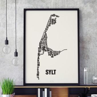 Buchstabenort Sylt Stadtteile-Poster Typografie Siebdruck