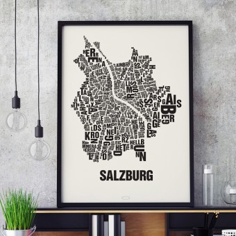 Buchstabenort Salzburg Poster Typografie Siebdruck