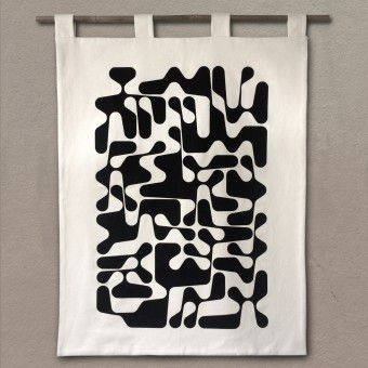 Print now - Riot later ● Sanscript Wandbehang, Stoffsiebdruck