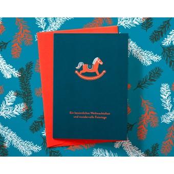 Süße Weihnachtskarte mit Schaukelpferd // Papaya paper products