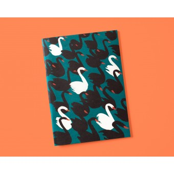 Notizheft A5 Black swans petrol // Papaya paper products