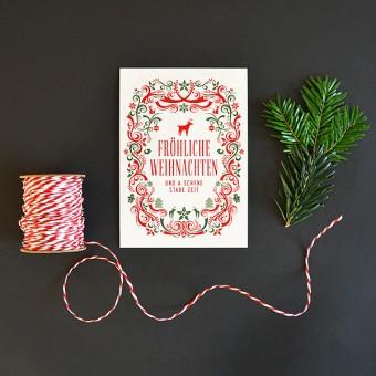 Bayerische Weihnachtskarte auf Bierdeckel-Karton gedruckt // Inkl. Naturpapier-Kuvert