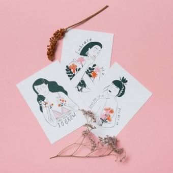 Notietzblock Girls Postkarten Set, 3 verschiedene Motive