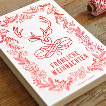 HEIMATFORMAT Fröhliche Weihnachten Letterpress-Karte // Inkl. Naturpapier-Kuvert